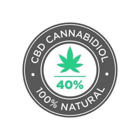 40 procent CBD Cannabidiol olie pictogram. 100 procent natuurlijk.