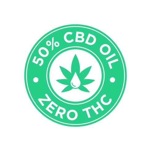 50 percent CBD Oil icon. Zero THC. vector