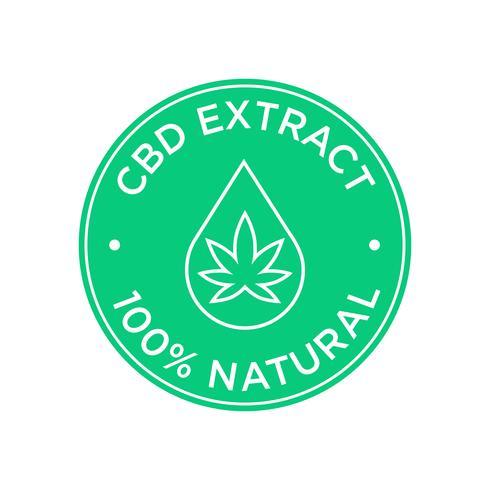 Icono de extracto de CBD. 100 por ciento natural. vector
