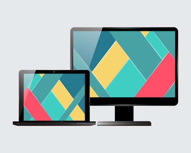 Conjunto de monitores para laptop vector