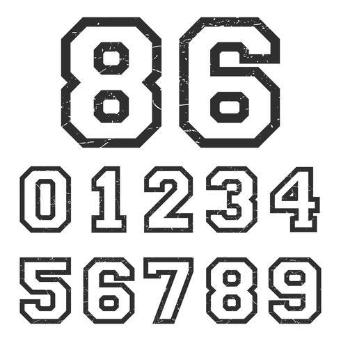 Vintage numbers stamp vector