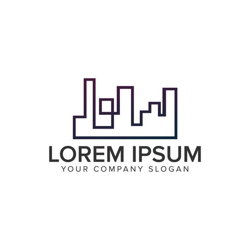 Logotipo de la línea de construcción, plantilla de concepto de diseño de logotipo de bienes raíces.
