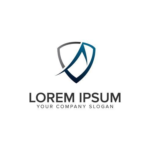 scudo con la lettera Un modello di concetto di design del logo. completamente modificabile