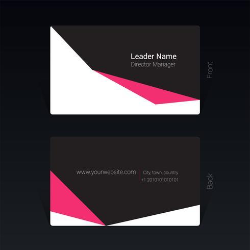 Svart och rosa visitkort designkoncept Vektorillustration
