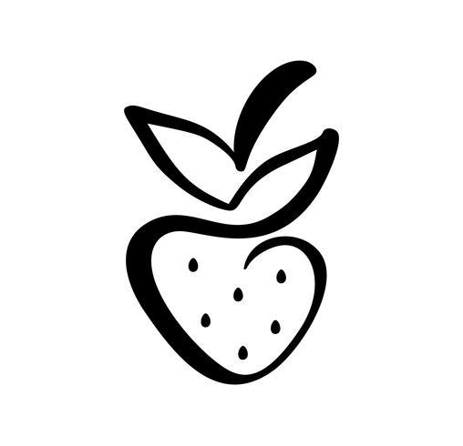 Icono de doodle de contorno dibujado mano fresa. Vector el bosquejo ejemplo de la insignia de la baya sana - fresa cruda fresca para la impresión, el web, el móvil y la infografía aislados en el fondo blanco