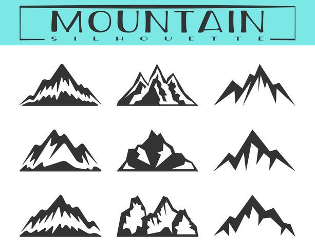 Jeu de silhouette de montagne