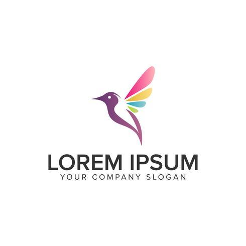 Modelo de conceito de design de logotipo pássaro multicolor suave. totalmente editável