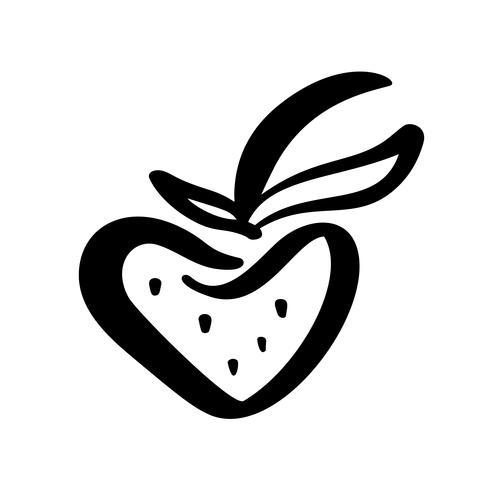 Morango mão desenhada contorno doodle ícone. Esboço do vetor Ilustração logotipo da baga saudável - morango cru fresco para impressão, web, mobile e infográficos isolado no fundo branco