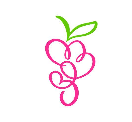 Vettore disegnato a mano mazzo di uva contorno doodle icona frutta. Grappolo d'uva schizzo illustrazione per logo, stampa, web, mobile e infografica isolato su sfondo bianco