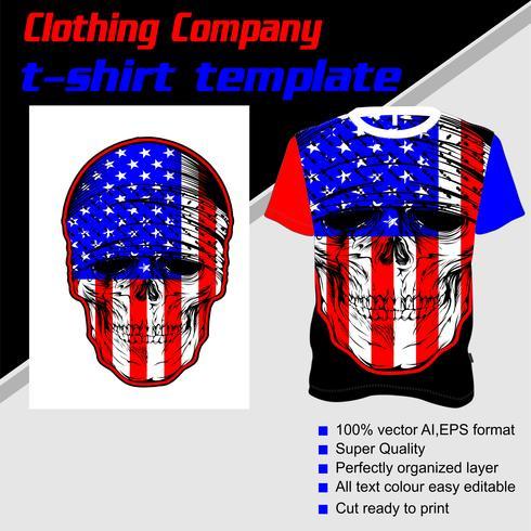 Modelo de t-shirt, totalmente editável com vetor de loja de bandeira EUA de crânio