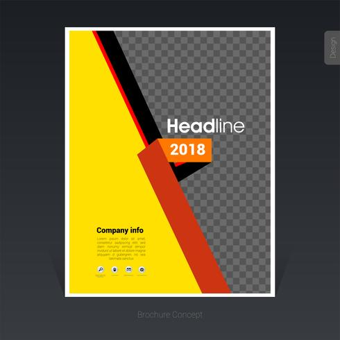 Yellow with orange folding business brochure template, cover design, flyer - Vector Illustration