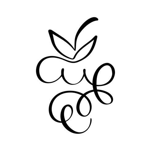 Dessinés à la main Vector Botte de raisins décrivent le fruit de l'icône doodle. Grappe de raisins croquis illustration pour logo, impression, web, mobile et infographie isolé sur fond blanc