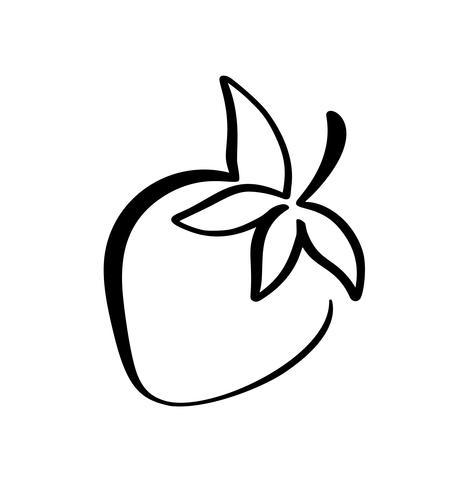 Icône de doodle contour dessiné main fraise. Croquis de vecteur Illustration de logo de baies en bonne santé - fraises crues fraîches pour l'impression, web, mobile et infographie isolé sur fond blanc