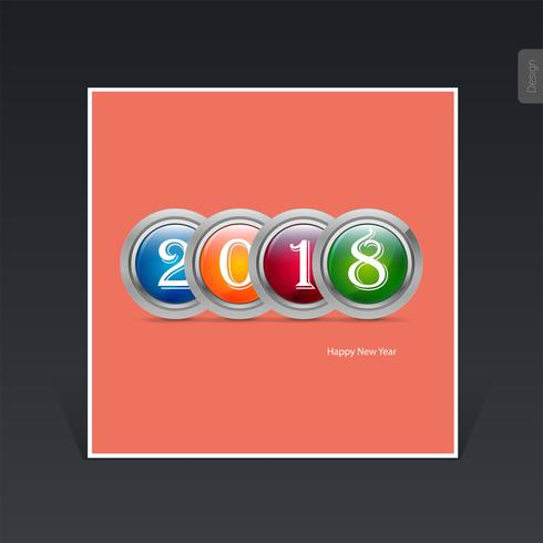 2018 Happy New Year concept, colorful 3d metalic circles Vector illustration