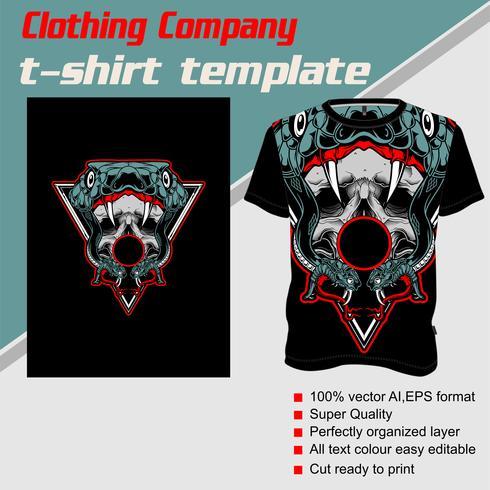 T-Shirt Schablone, völlig editable mit Schlangenschädelvektor