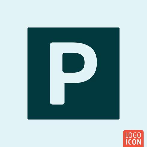 Parking icon minimal design vector