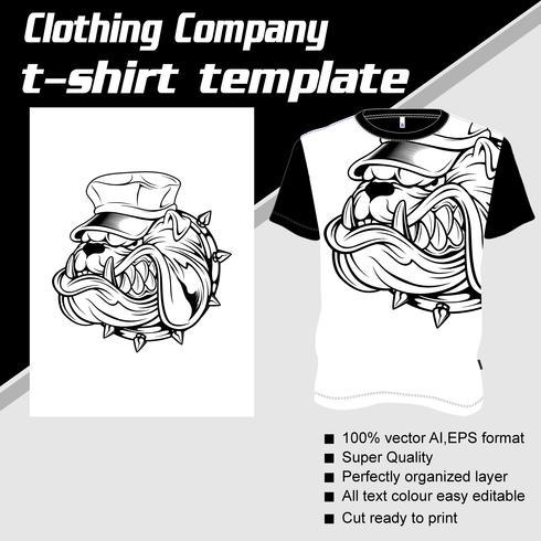 T-shirt mall, helt redigerbar med hund hjälm vektor
