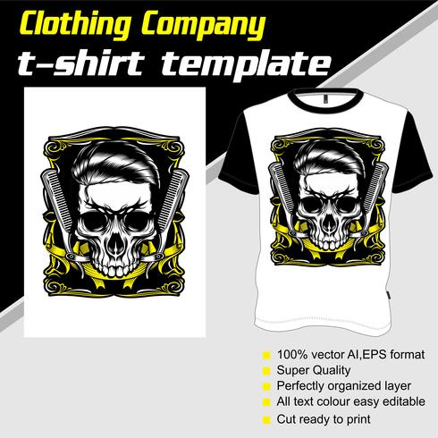 T-shirt template, fully editable with skull barber shop vector