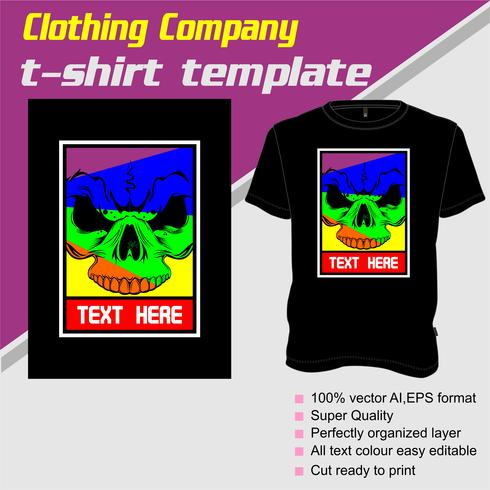 T-shirt template, fully editable with skull vector