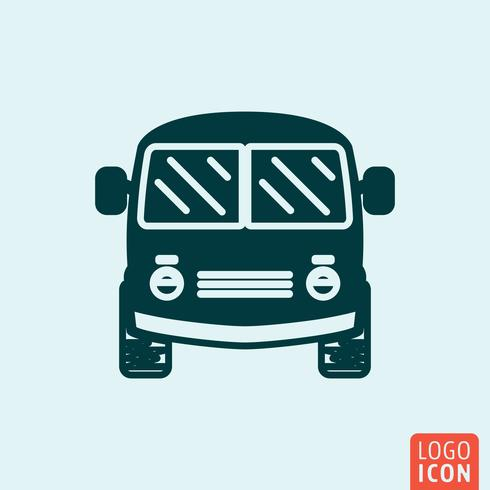 Mini icono de bus. Vehículo de transporte símbolo mínimo diseño vector