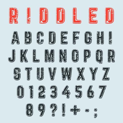 Fuente del alfabeto acribillado. Letras, números y signos de puntuación diseño grunge vector