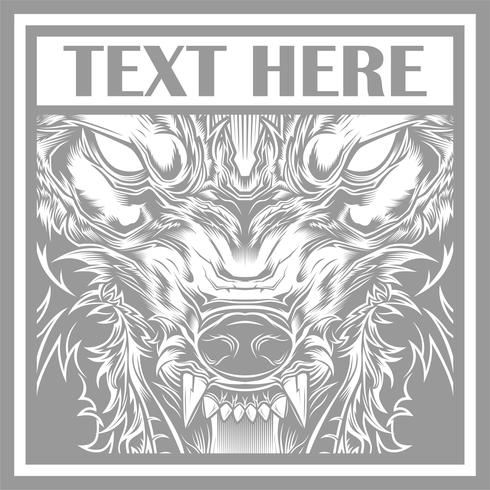 Vector ilustración cabeza feroz lobo, silueta de contorno sobre un fondo negro
