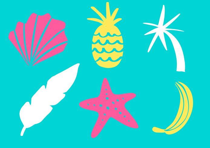 Collezione tropicale per le foglie esotiche della spiaggia estiva, foglie, ananas, palme e frutti. Elementi di design vettoriale isolati su sfondo bianco