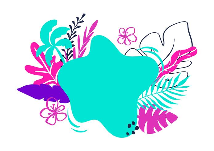 Tropical collection for summer beach party exotic leaves, pineapple, palms, fruits and place for text. Vector design isolated elements on the white background