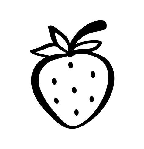 Aardbei hand getrokken schets doodle pictogram. Vectorschets Logo illustratie van gezonde bes - verse rauwe aardbei voor print, web, mobiel en infographics geïsoleerd op een witte achtergrond