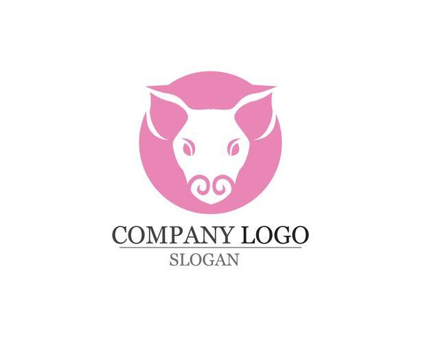 Pig Head Logo design vector template. Pork BBQ Grill Restaurant Logotype negative space style icon