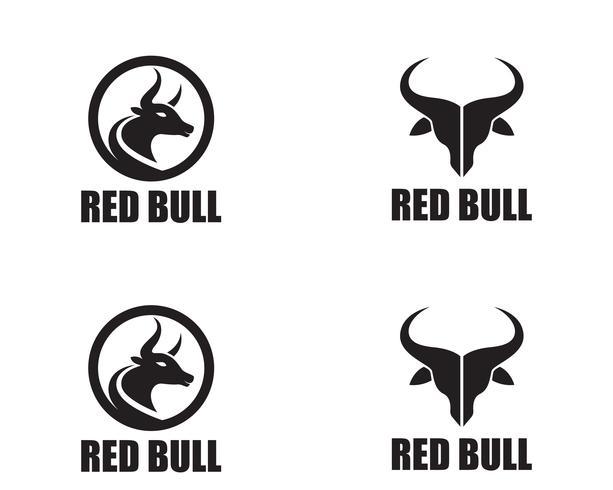 Bull hornlogotyp och symbolmallikoner