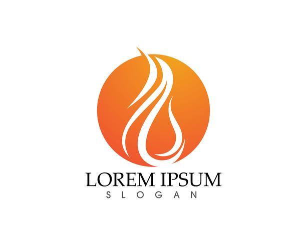 Modelo de ícones do fogo chama natureza logotipo e símbolos