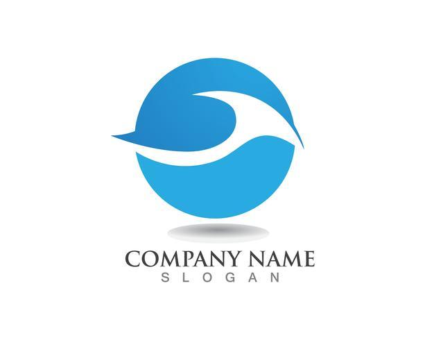 Wasserwellensymbol und Ikone Logo Template-Vektor
