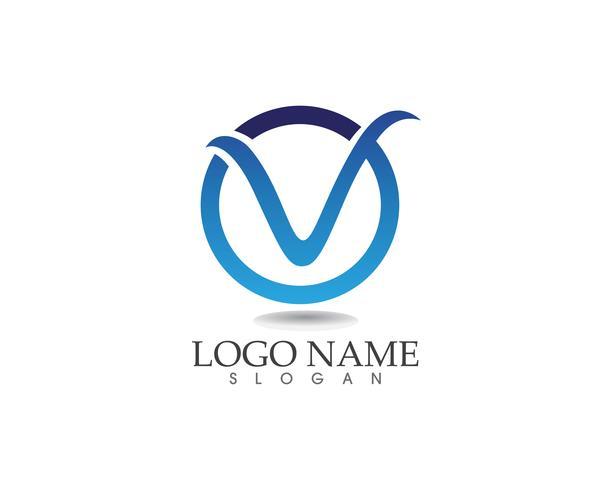 V-brev företagslogotyp och symbolmall