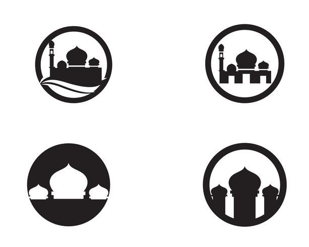 Moskee pictogram vector illustratie ontwerpsjabloon