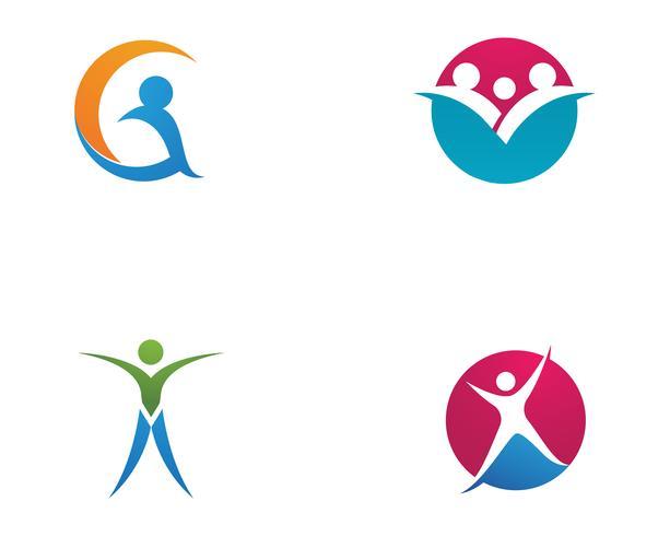 Plantilla de logotipo y símbolos de cuidado de amor familiar