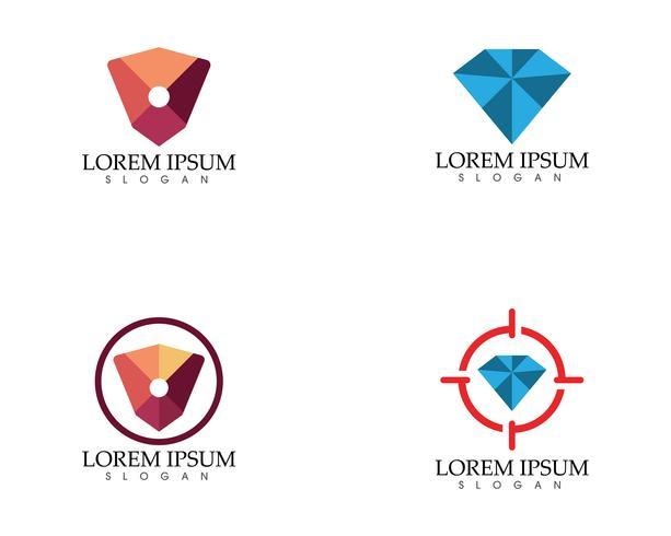 Recherche de diamants insérés icônes vectorielles Logo Template vecteur