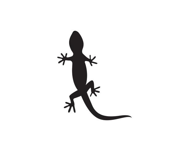 Eidechsen-Chamäleon-Gecko-Schattenbildschwarzvektor 10