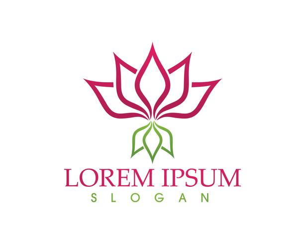 Lotus Flower Sign per Wellness, Spa e Yoga vettore