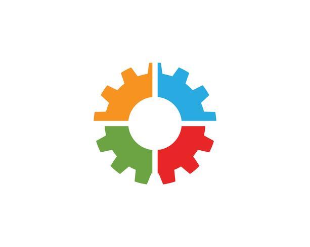 Diseño del ejemplo del icono del vector de la plantilla de la máquina del engranaje
