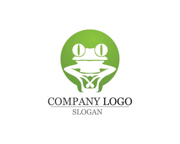 green frog symbols logo and template vector