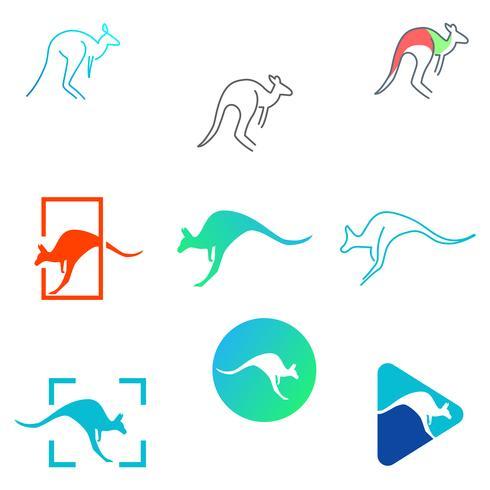 elemento de ilustración de icono de vector de diseño de logotipo de canguro