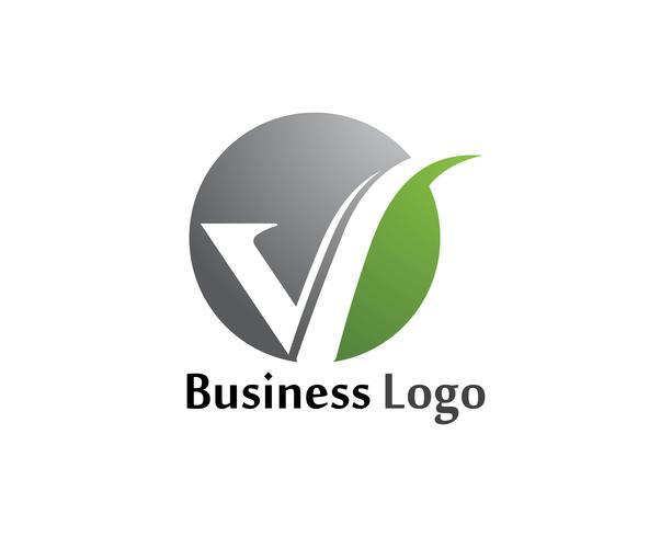 Logotipo de negócio de cartas de logotipo V e modelo de símbolos