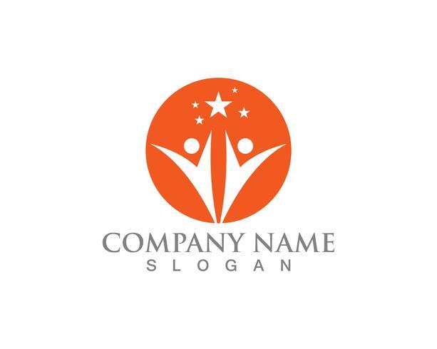 Stermensen Logo Success Template het vectorontwerp van de pictogramillustratie