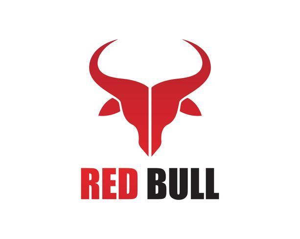 Icone del modello logo e simboli del corno rosso Bull vettore