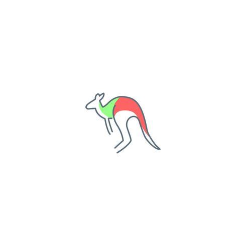 Känguru Logo Design Vektor Icon Illustration Element