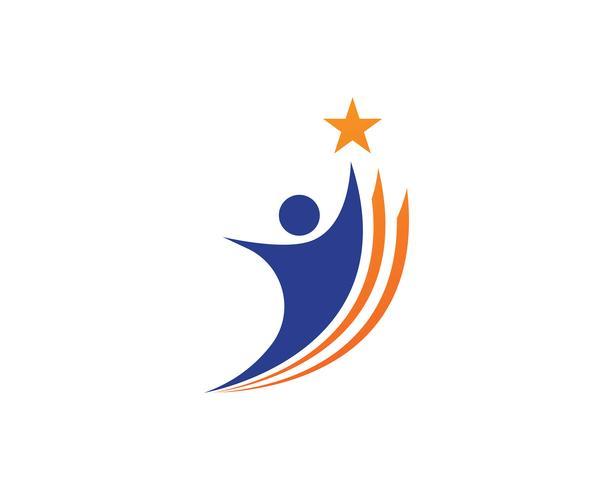 Star logo framgång människor mall vektor ikon illustration design
