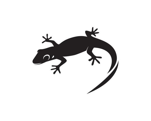 Lézard caméléon gecko silhouette noir vecteur 10