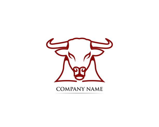 Modello di logo e simboli di corno di toro
