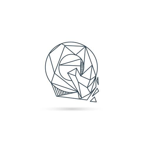 piedra preciosa letra q logotipo diseño icono plantilla vector elemento aislado